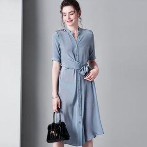 Blue long wide bottom strap waist slim dress